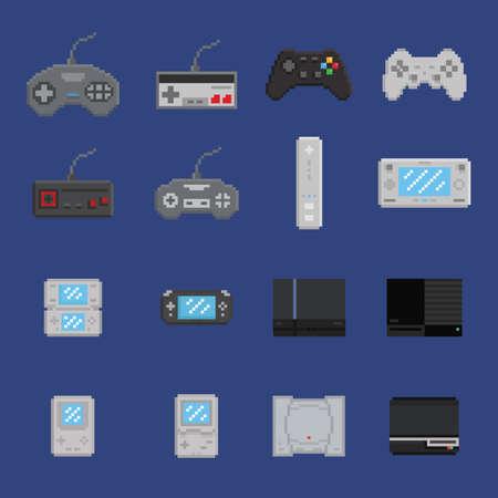 portable console: pixel art game design icon set - console, gamepad, portable console 16 items