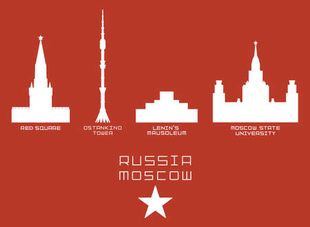 moscow city: Russia Moscow city shape silhouette icon set -Red Square, Ostankino Tower, Lenins Mausoleum, State University white on red