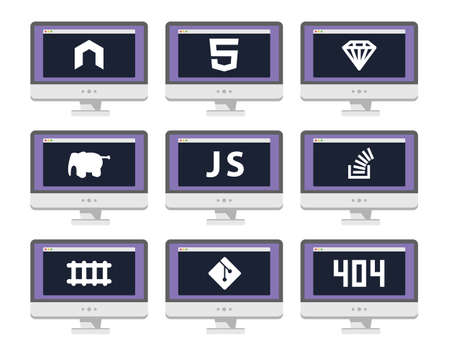 vector set: Vector software coding icon set - programming languages, technologies, frameworks on screen Illustration