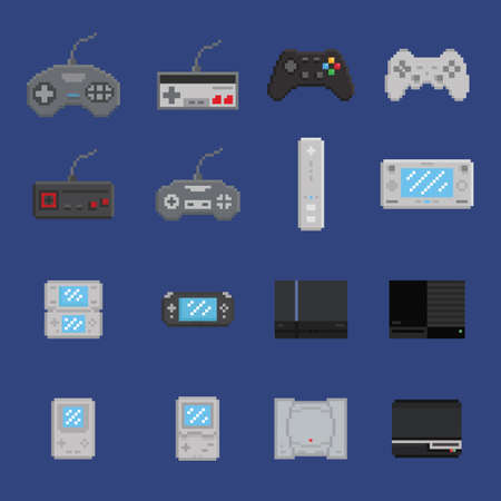toy chest: pixel art game design icon set - console, gamepad, portable console 16 items