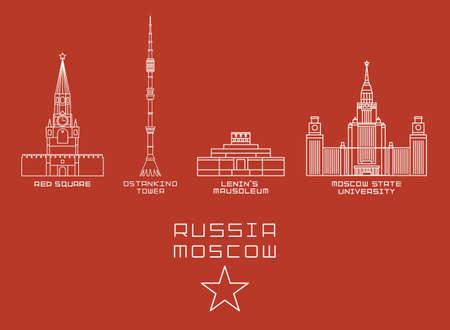 moscow city: Russia Moscow city thin line icon set -Red Square, Ostankino Tower, Lenins Mausoleum, State University white on red