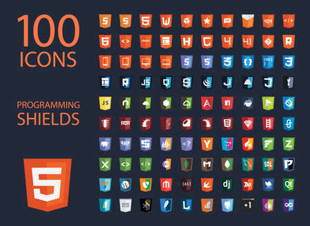 css3: vector collection of web development shield signs, one hundred isolated icons html5 style programming technology badge