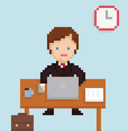 coffee table: Vector pixel art illistration office businessman sitting at the laptop, papers, cup of coffee, table on light blue background Illustration