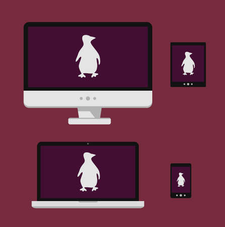 Vector illustration laptop, smartphone, tablet, computer screen with white linux penguin silhouette isolated white background