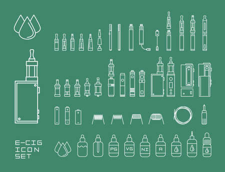 Vector illustration icon set of vaping e-cigarette devices and equipment isolated white lines Vettoriali