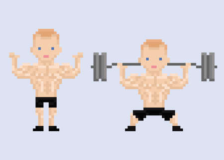 handsome: Pixel art character athlet bodybuilder lifting weight isolated Illustration