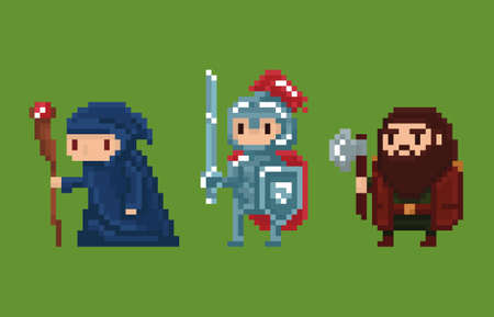 cartoon axe: Pixel art style illustration wizard, knight and dwarf isolated on green