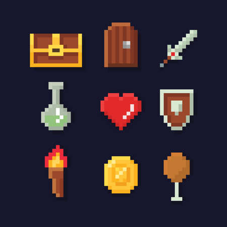 Vector pixel art illustration isons for fantasy adventure game development, magic, sword, food, chest, coin, isolated on dark blue background Illustration