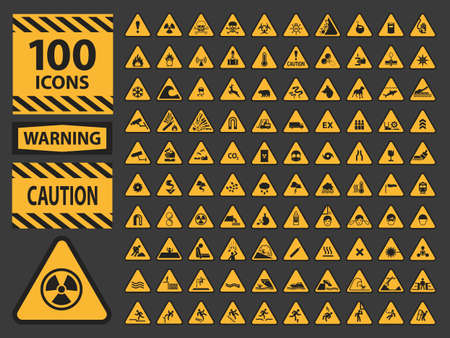 HAZARD SIGNS: Vector icn set triangle yellow warning caution hazard signs. isolated icons on grey background