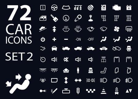 vector colección de indicadores del panel del salpicadero del coche del blanco 2 en el fondo azul oscuro