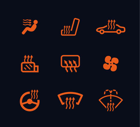 fireside: vector collection of orange car heating dashboard panel indicators isolated on black background