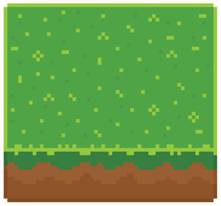 Texture for platformers pixel art vector - ground mud block with grass on top pattern game design
