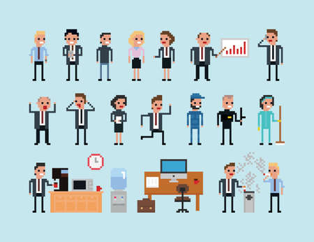 old office: Set of pixel art people icons, office work vector illustration isolated