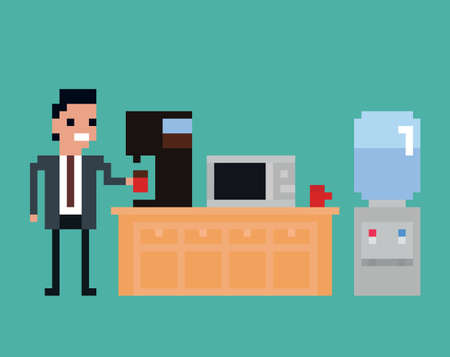 water cooler: pixel art illustration of office worker pours drink in the kitchen, coffee machine, microwave, water cooler isolated