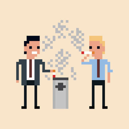 smoking place: pixel art Illustration of office workers smoking a cigarette isolated