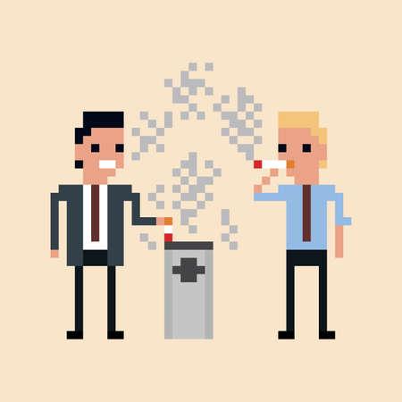 Pixel-Kunst Illustration von Büroangestellten das Rauchen einer Zigarette isoliert