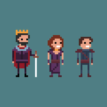 8 bit: Pixel art vector illustration retro 8 bit fantasy kingdom, king, queen, prince isolated