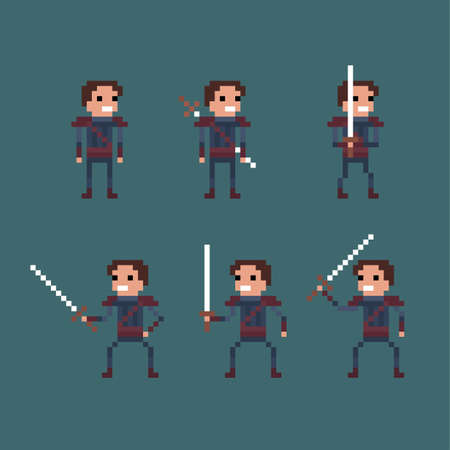 swordsman: Vector pixel art fantasy kingdom swordsman warrior sprite isolated set Illustration