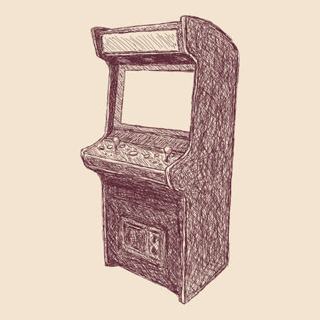 light brown background: vector illustration - sketch style drawing of arcade cabinet, isolated vintage item on light brown background