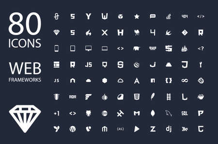 web site design: Web development framework icon set vector illustration white on black