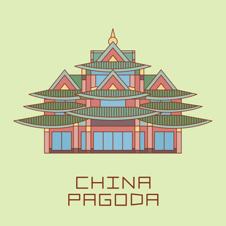 buddist: Buddist Pagoda line drawn vector illustration isolated on light green Illustration