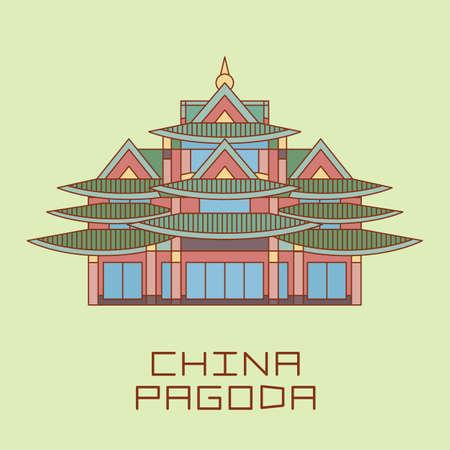 thai temple: Buddist Pagoda line drawn vector illustration isolated on light green Illustration