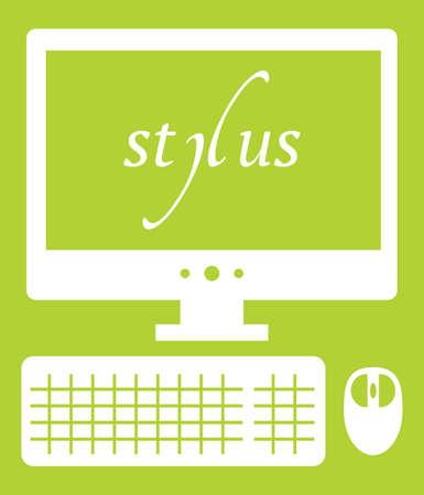 Vector illustration of web development stylus technology. isolated white icon on green background