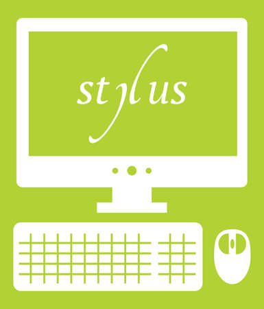 dynamic html: Vector illustration of web development stylus technology. isolated white icon on green background