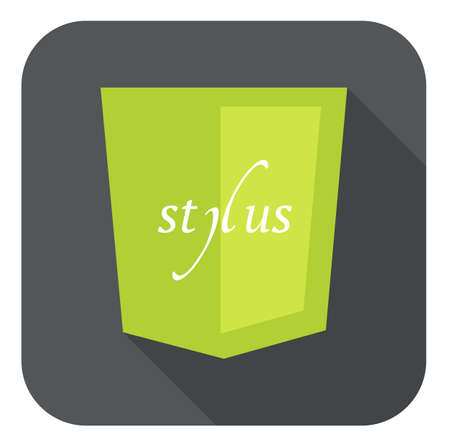 stylus: vector illustration of light green shield with css stylus, isolated web site development round icon on white background
