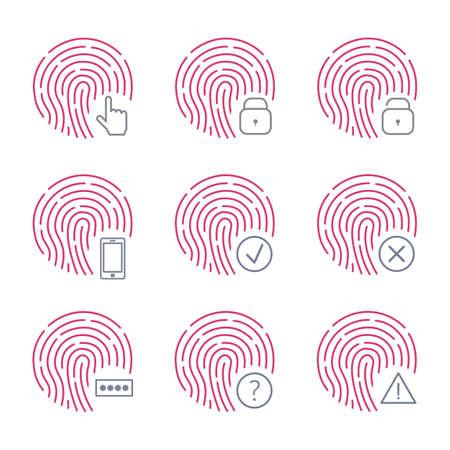 Fingerprint scanner icons on white background. Vector illustration isolated