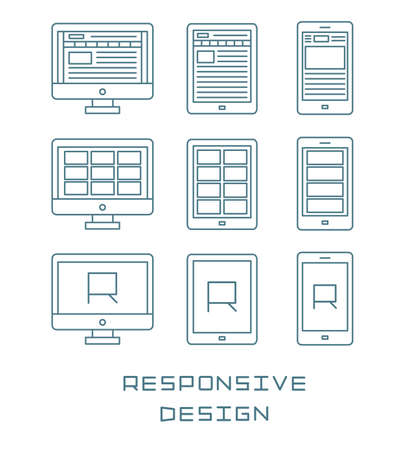 responsive: Line icons set flat design responsive web development service, website webpage user interface on different devices. Modern vector pictogram collection isolated