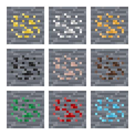 ore: Texture for platformers pixel art : stone ore blocks: silver, gold, coal, gem, iron square block