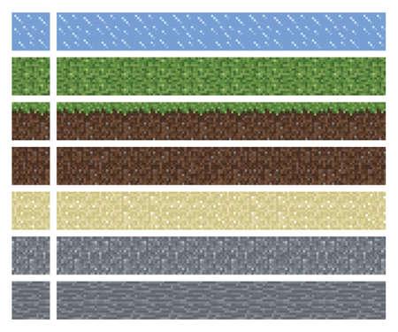 Textura para el arte de plataformas de píxeles - baldosas de barro hierba de tierra de piedra aislado bloque cuadrado Ilustración de vector