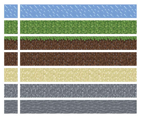Texture for platformers pixel art - mud grass stone ground tile isolated square block Vettoriali