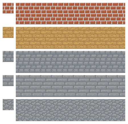 Texture for platformers pixel art - brick, stone and wood wall isolated block Vettoriali