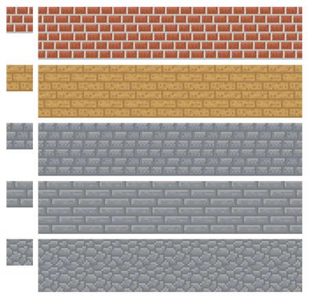 Texture for platformers pixel art - brick, stone and wood wall isolated block Ilustração