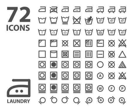 Wasserette en wassen icon set. geïsoleerd grijs op een witte achtergrond Vector Illustratie