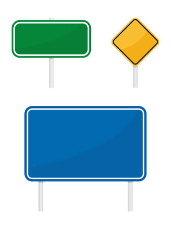 blank green blue yellow warging information road traffic signs isolated on white background