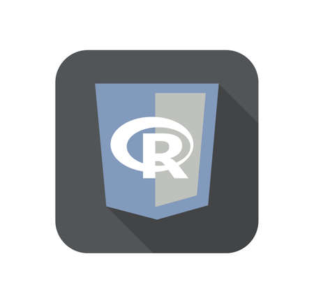 vector round icon of web shield with R letter programming language - isolated flat design illustration long shadow 일러스트