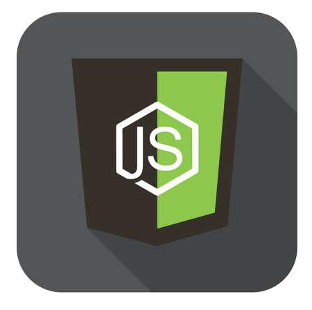 node: vector icon web shield node framework - isolated flat design illustration long shadow  grey icon on white Illustration