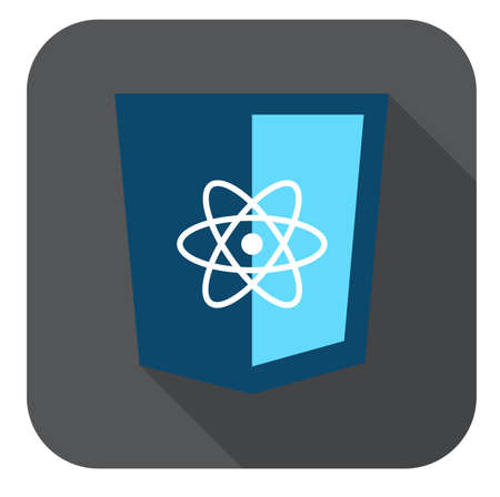 react: vector icon blue web shield  js framework  - isolated flat design illustration long shadow on while