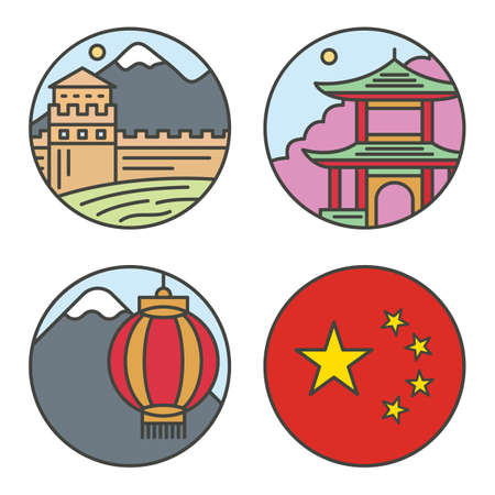 sky lantern: Country China travel vacation places in thin lines style design. Set architecture, nature background concept vector flat design illustration round isolated icons Illustration
