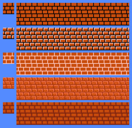 Texture for platformers pixel art vector - brick wall on blue background