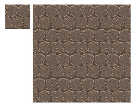 Texture for platformers pixel art vector - brick stone wall isolated block on white