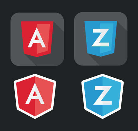 css3: vector illustration of light red and blue shield with A Z letters for javascript framework on the screen isolated on black background Illustration