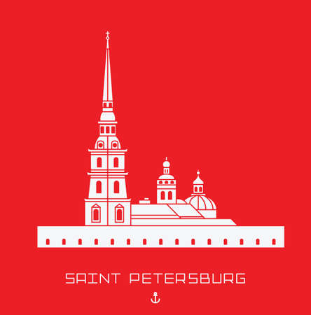 Peter and Paul Cathedral - Saint Petersburg architectural monument. Simple line drawn shape isolated white symbol on red background Illustration