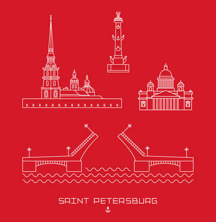 petersburg: Vector illustration icon set - symbols of Saint Petersburg, Russia. Simple white line drawn on red background