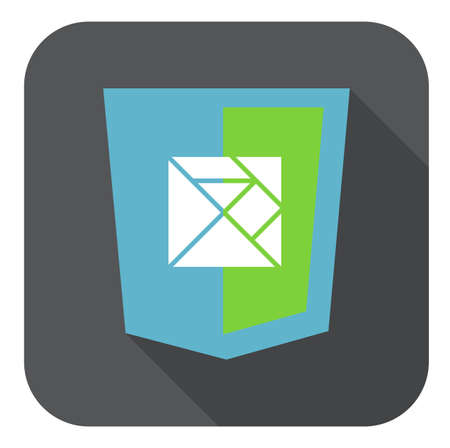 html5: vector web development shield sign html5 javascript lines symbol isolated icon on grey badge with long shadow