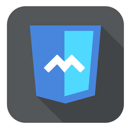 js: web development shield sign html5 javascript M symbol isolated icon on grey badge with long shadow