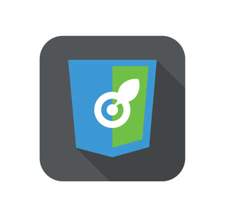 html 5: web development shield sign isolated blue green aim leaf icon on grey badge with long shadow Illustration